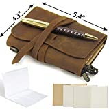 Small Pocket Refillable Travellers Notebook Handmade Leather Journal AMAZING BUNDLE Vintage Antique Genuine Leather Travel Diary for Men Women Students TN + Pen Zip Bag Notes Sketching Drawing 14x11cm
