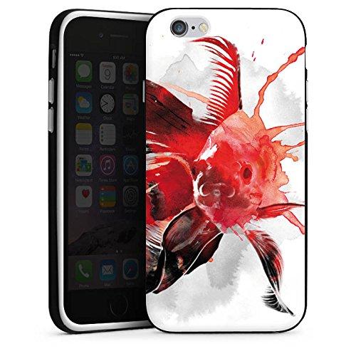 Apple iPhone 4 Housse Étui Silicone Coque Protection Poisson Art Poisson rouge Housse en silicone noir / blanc