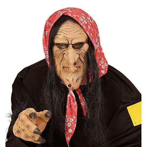 Hexen Maske Hexenmaske mit Haaren Faschingsmaske Hexe Halloweenmaske Böse Zauberin Karnevalsmaske Witch Märchen Horrormaske Halloween Karneval Kostüm (Halloween Kostüme Hässliche)