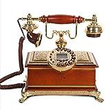 Power uk Villa Wood Retro Teléfono Casa Teléfono fijo Clásico Teléfono creativo Oficina europea Teléfono real