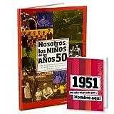 Libro de tu año de nacimiento, libro de la década de los 50 con tarjeta personalizada - Regalo para cumpleaños - Otras edades disponibles