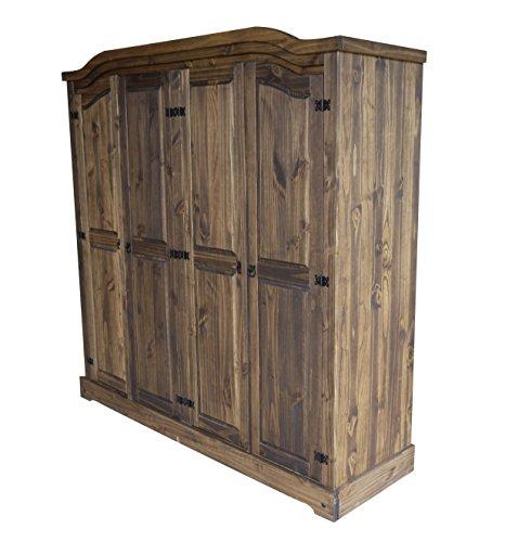 Brasilmoebel® Kleiderschrank Rio Classico mit 4 Türen mit Kleiderstange - Pinie Massivholz Brasilmöbel Eiche antik - in vielen verschiedenen Farben - edles Pinienholz - massiv aus nachhaltiger Forstwirtschaft - Schlafzimmer Pinienmöbel