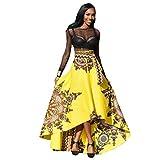 Kleider Damen Sommer Elegant Knielang Festlich Hochzeit Rockabilly African Printed Boho Langes Kleid Strand Abendgesellschaft Maxi Rock (Gelb, L)