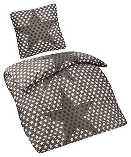 Aminata Kids - Kinder-Bettwäsche 135-x-200 cm Stern-e-Motiv Star Sternchen Mikrofaser dunkel-grau-e anthrazit Allergiker-geeignet