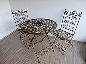 ziegler 3tlg garnitur 3er set gartenm bel 2 gartenst hle gartentisch tisch stuhl metall. Black Bedroom Furniture Sets. Home Design Ideas