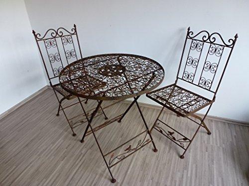 Ziegler 3tlg. Garnitur 3er Set Gartenmöbel 2 Gartenstühle Gartentisch Tisch Stuhl Metall WK070828 + WK070827