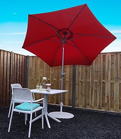 Parasol Jardin | Rouge | Ø 270 cm | Rond | SORARA - INTI | Polyester 180 g/m² (UV 50+)| Commande à Manivelle (Pied