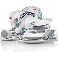 VEWEET 'Olina' vajilla de Porcelana 30 Piezas Juegos de vajilla Incluye 6 Tazas de café 175ml, 6 platillo, 6 Platos de Postre,6 Platos de Comedor y 6 Platos de Sopa vajilla para 6 Personas