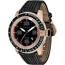 Glam Rock Men's Sobe Tech 50mm Black Satin Band Rose Gold Plated Case Swiss Quartz Analog Watch GR33010A
