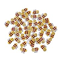 GuanjunLI 50Pcs 2 Holes Wooden Button for Sewing Craft Decorations,Bee Shaped