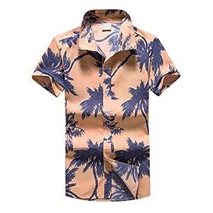 cinnamou Herren Hawaiian Print Kurzes T-Shirt Sports Beach Schnell trockene Bluse Top Bluse/Shorts