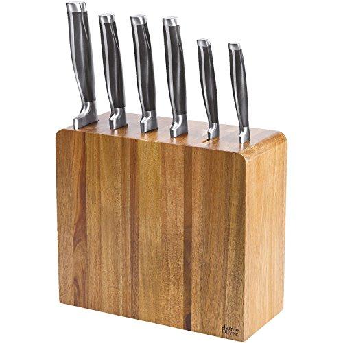 Jamie Oliver Schmaler Messerblock aus Akazienholz Akazienholzmesserblock mit 6, Inklusive Messer, Kunststoff, Holz/Schwarz/Edelstahl