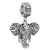 Cherris Love Elephant Animal Dangle Charms Beads for Snake Chain Bracelets
