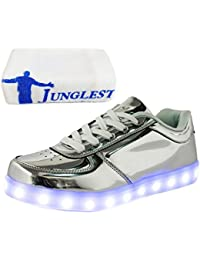 JUNGLEST (Present:Kleines Handtuch) Silber EU 42, Sport Schuhe Herren 7 für 43 Größe Turnschuhe Leuchtend Lackleder Mode Damen Farbe High Unisex-Erwachsene Top LED Sports