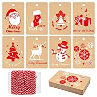 MIAHART 80 Pcs Christmas Gift Tags, Kraft Paper Tags Wrapping Label with Hanging Rope, 8 Styles Christmas Kraft Present Gift Tags for DIY Arts and Crafts (80)
