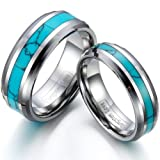 JewelryWe Schmuck 1 Paar Wolfram Wolframcarbid Synthetische Türkis Inlay Partnerringe Freundschaftsringe Eheringe Trauringe Verlobung Ringe Band, Silber Grün