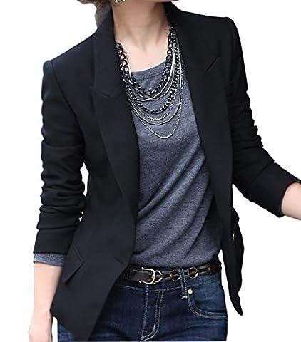 Carolilly Femme Veste de Tailleur Blazers Costume Noir Manches Longues Col V Slim (XXXL)
