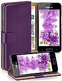 moex Samsung Galaxy S2 | Hülle Lila mit Karten-Fach 360° Book Klapp-Hülle Handytasche Kunst-Leder Handyhülle für Samsung Gala