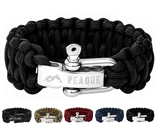 PEAQUE Survival Armband aus Paracord - inkl. eBook - Verstellbarer Edelstahlverschluss - breites Überlebens-Armband aus echter Fallschirmschnur (schwarz)