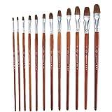 Yamyannie Künstler-Set Kunst-Aufbewahrungsbox Detailpinsel 12 Stück Mini-Pinsel für Kunstmalerei mit Acryl-Wasserfarben und Ölgemälden Zeichnen Skizzieren Malpinsel braun