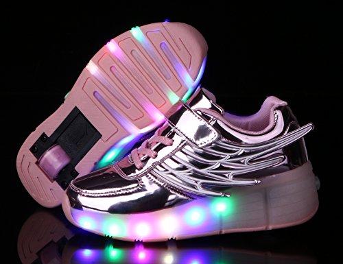 Mr.Ang Mit LED Lichter blinken Skateboard Schuhe Flügel-Art RollenRäder Schuhe Unisex Turnschuhe Skateboard Lnline Sneaker Einzelnes Rad Jungen Mädchen Kinder neutral Kuli Rollschuh Schuhe Rosa