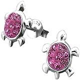 JAYARE Kinder Ohrstecker Schildkröten 925 Sterling Silber Glitzer Kristalle 11 x 8 mm pink im Geschenketui Mädchen Damen Ohrringe