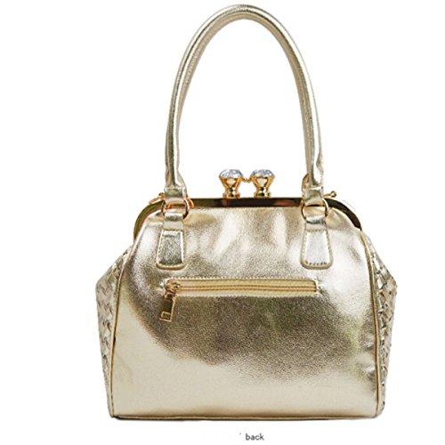 Big Bag Ladies Européens Et Américains Sac à Bandoulière Sac à Main Sac Seau Diagonal Serrure Décoration,Gold