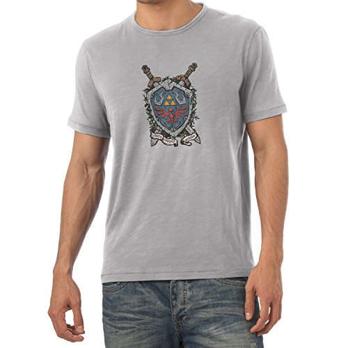 NERDO - Power Courage Wisdom Shield - Herren T-Shirt Grau Meliert