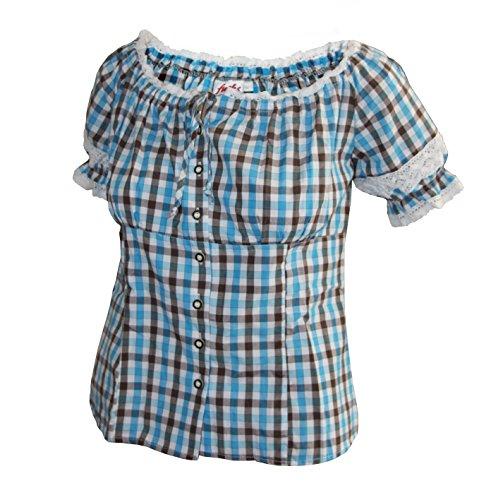 Damen Bluse Gr.S-XXL in 4 vers. Farben (L, türkis braun)