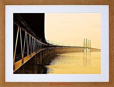 PHOTO LANDMARK ORESUND BRIDGE SWEDEN DENMARK FRAMED PRINT F97X4372
