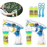 TOYMYTOY 2Pack LED Pistolet à Bulles Bubble Gun Bubble Machine Blower Lumière Clignotante et Sonore Cadeau Enfants (bleu jaune)