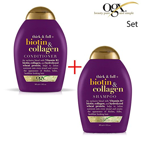 ogx (ehemals Organix) Thick & Full Biotin Collagen SHAMPOO 385ml + CONDITIONER / SPÜLUNG 385ml -...