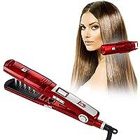Plancha de vapor para rizador de pelo 2 en 1 plancha de cerámica plana para cabello lacio, adecuada para peluquería.