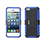 Fetrim Custodia iPhone 5S, cover supporto anti Case, TPU Plastica Bumper Rugged armatura ultra protezione Copertura Cassa Shell Caso per iPhone 5/5S/Se - blu