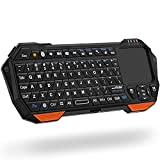 Fosmon Mini drahtlose Bluetooth Tastatur (QWERTY) mit Touchpad, Portable Leichtbau Kabellose Wireless Keyboard Controller für Apple iPhone 7/6s/6s Plus/SE/5S, Samsung Galaxy S7/S7 Edge Android / Windows Smartphones, Tablette, PS4, Laptop, Notebook und andere (Schwarz / Orange)
