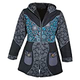 Kunst und Magie Damenmantel mit Kapuze Blumenmuster Jacke Baumwolle, Farbe:Schwarz/Grau, Größe Damen:46