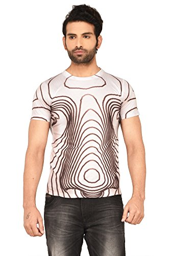 MEN 3D EFFECT PRINTED TSHIRTS(US-FACE-WHT-S)