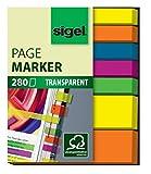 Sigel HN616 Marque-pages adhésifs en papier transparent, 2 tailles 5 x 2 cm et 5 x 0,6 cm, 280 feuilles, 5 couleurs