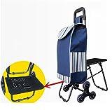 XYLUCKY Leichtgewichtler mit Sitz-Einkaufslaufkatze, die 6 Rad-große Kapazitäts-Käufer faltet , c