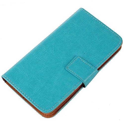 PREVOA Flip PU Housse Coque Protection Case pour Logicom L-EMENT 551 Smartphone Ecran 5,5 pouces - Bleu -