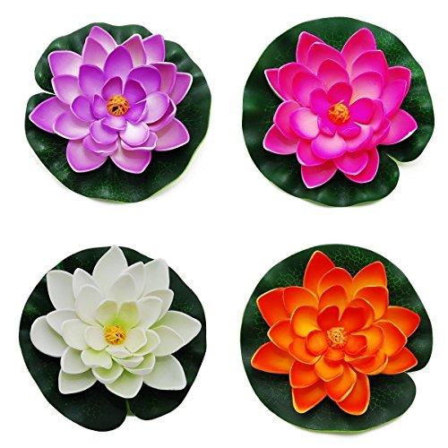 Xiton galleggiante stagno decor ninfea/lotus schiuma fiore, piccolo (set di 4)