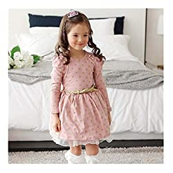 Cute Girls Princess Dress, Transer® Toddler Clothes Baby Girls Dots Decorated Party Dress Kids Pageant Long Sleeve Princess Dresses with Lace Edge