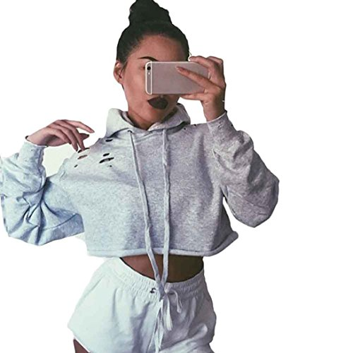 Culater® Donne Felpa con cappuccio ponticello Crop Top Coat Sport Pullover Tops (M)