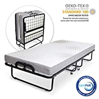 """Milliard Diplomat Folding Bed/Guest Bed - Small Single (31"""" Wide) with 12.5 cm Thick Luxurious Memory Foam Mattress and a Super Strong Sturdy Frame - 190 x 79cm"""