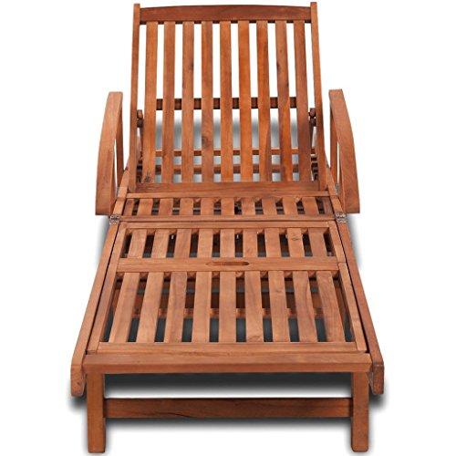 Festnight Chaise longue Bois d'acacia massif 200 x 68 x 83 cm pour détendre lire, musique ou sieste