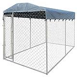 WT Trade Premium XXL Hundezwinger für Draußen mit Dach und Tür | 200x400x235cm | Hundehütte Hundekäfig Sonnendach Hundehaus Hütte | außen Auslauf