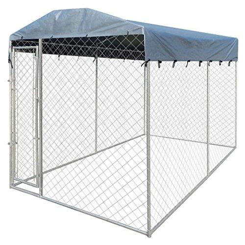 Vidaxl cuccia del cane resistente con tettoia rete acciaio gabbia da esterno