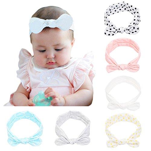 CANSHOW 6 Stück Baby Stirnbänder Mädchen weich Baumwolle Haarband Stirnband Madchen Turban Babygeschenke