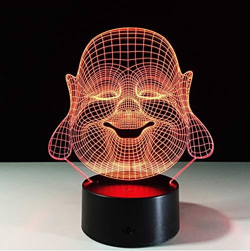 reya Buddha 7 Farbwechsel Nachtlampe 3D Atmosphäre Bulbing Licht Led 3D Visuelle Illusion Großhandel Für Geschenke ()