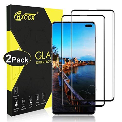 CRXOOX 2 Stück Panzerglasfolie für Samsung Galaxy S10 Plus Fingerabdruckerkennung Panzerglas Schutzfolie Ohne Bläschen Displayschutzfolie Einfache Montage für Samsung Galaxy S10 Plus (Schwarz)
